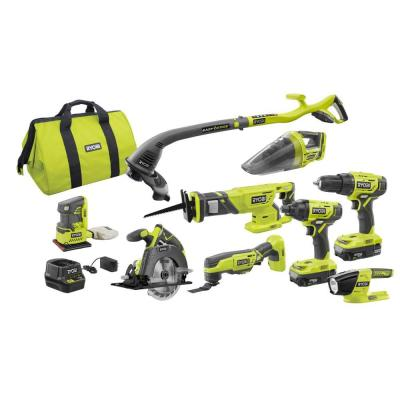 RYOBI 18-Volt ONE+ Lithium-Ion Cordless 9-Tool Combo Kit with (2) Batteries, Charger, and Bag