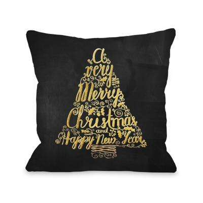 Merry Christmas Tree Chalkboard 16 in. x 16 in. Decorative Pillow