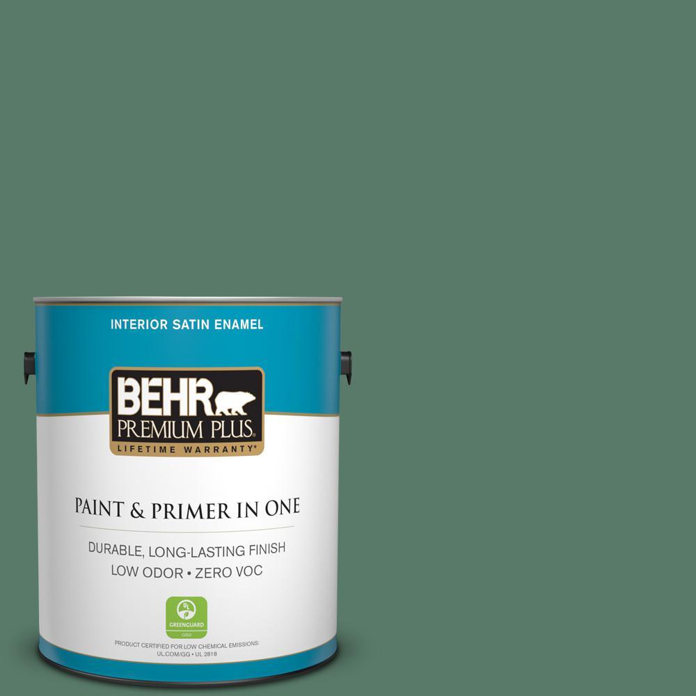 BEHR Premium Plus 1-gal. #S410-6 Greener Pastures Satin Enamel Interior Paint