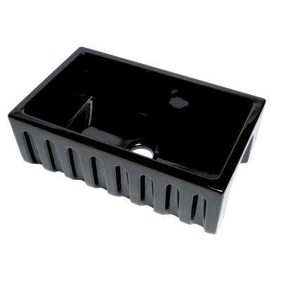Farmhouse Fireclay 29.88 in. Single Bowl Kitchen Sink in Black Gloss