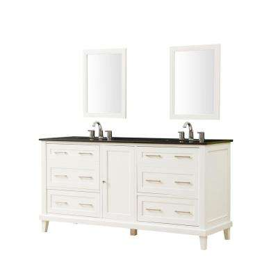 Winslow 70 in. x 23 in. D Vanity in White with Granite Vanity Top in Black with White Basin and Mirrors