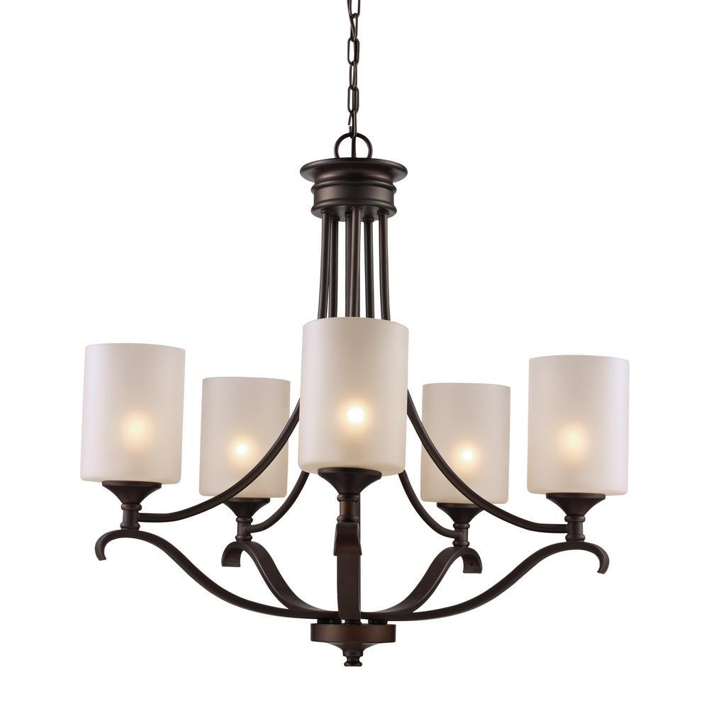 Ballard 5 light oil rubbed bronze chandelier with frosted glass ballard 5 light oil rubbed bronze chandelier with frosted glass shades arubaitofo Image collections
