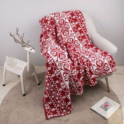 60 in. L x 50 in. W ,930g Knitted Snowflake Polyester Red/White Throw Blanket
