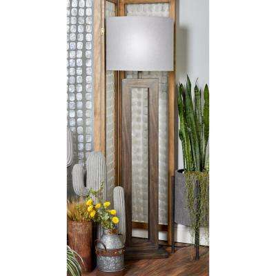64 in. Dark Brown Wooden Floor Lamp with Open Design Body and Gray Cylindrical Shade
