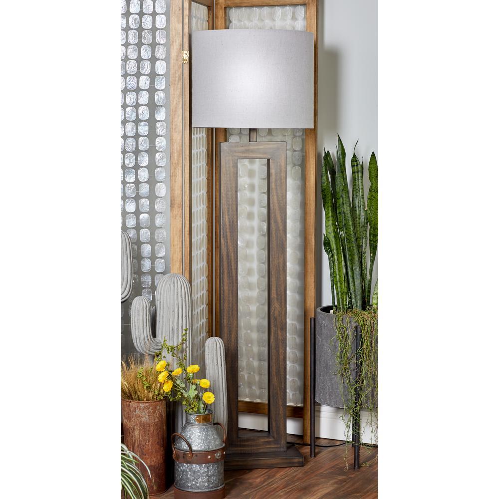 Dark Brown Wooden Floor Lamp With Open Design Body And Gray