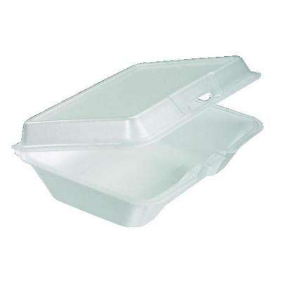 Hinged Insulated Foam Carryout Food Container, 9-1/2 in. x 9-3/10 in. x 3 in., White, 200 Per Case