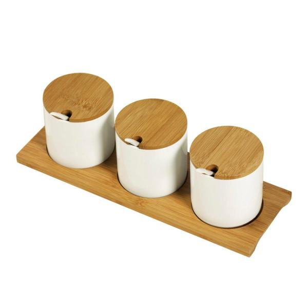 8 oz. White Porcelain Condiment Servers with Spoons and Tray - 10-Piece