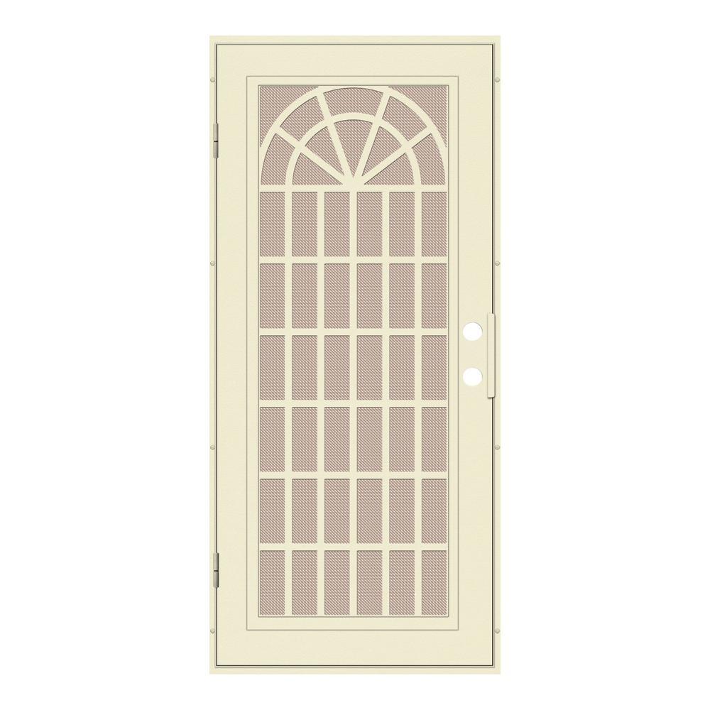36 in. x 80 in. Trellis Beige Hammer Left-Hand Surface Mount Security Door with Desert Sand Perforated Metal Screen