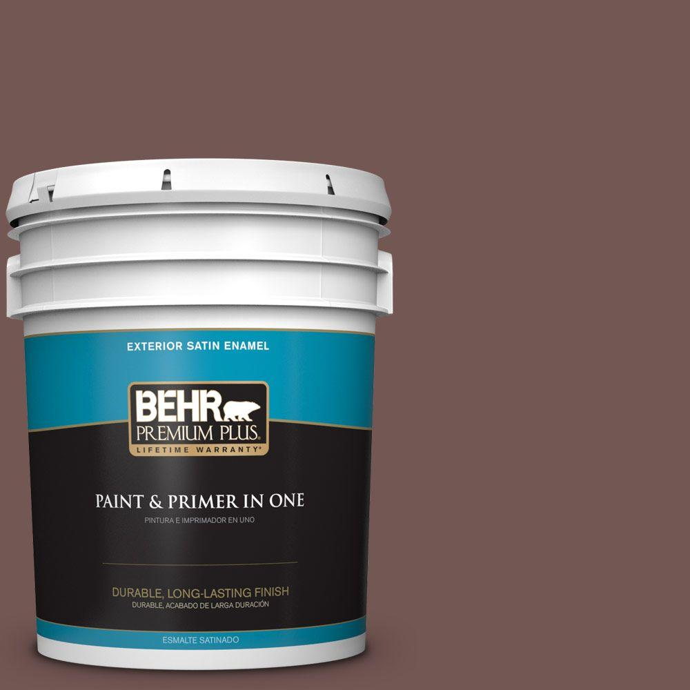 BEHR Premium Plus 5-gal. #180F-6 Brown Ridge Satin Enamel Exterior Paint