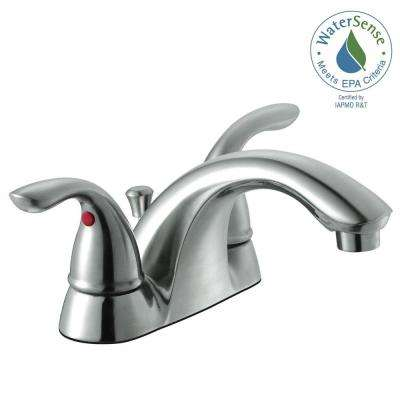 Builders 4 in. Centerset 2-Handle Low-Arc Bathroom Faucet in Brushed Nickel
