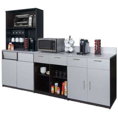 Coffee Kitchen Espresso / Silver Sideboard with Lunch Break Room Functionality with Assembled Commercial Grade 3392