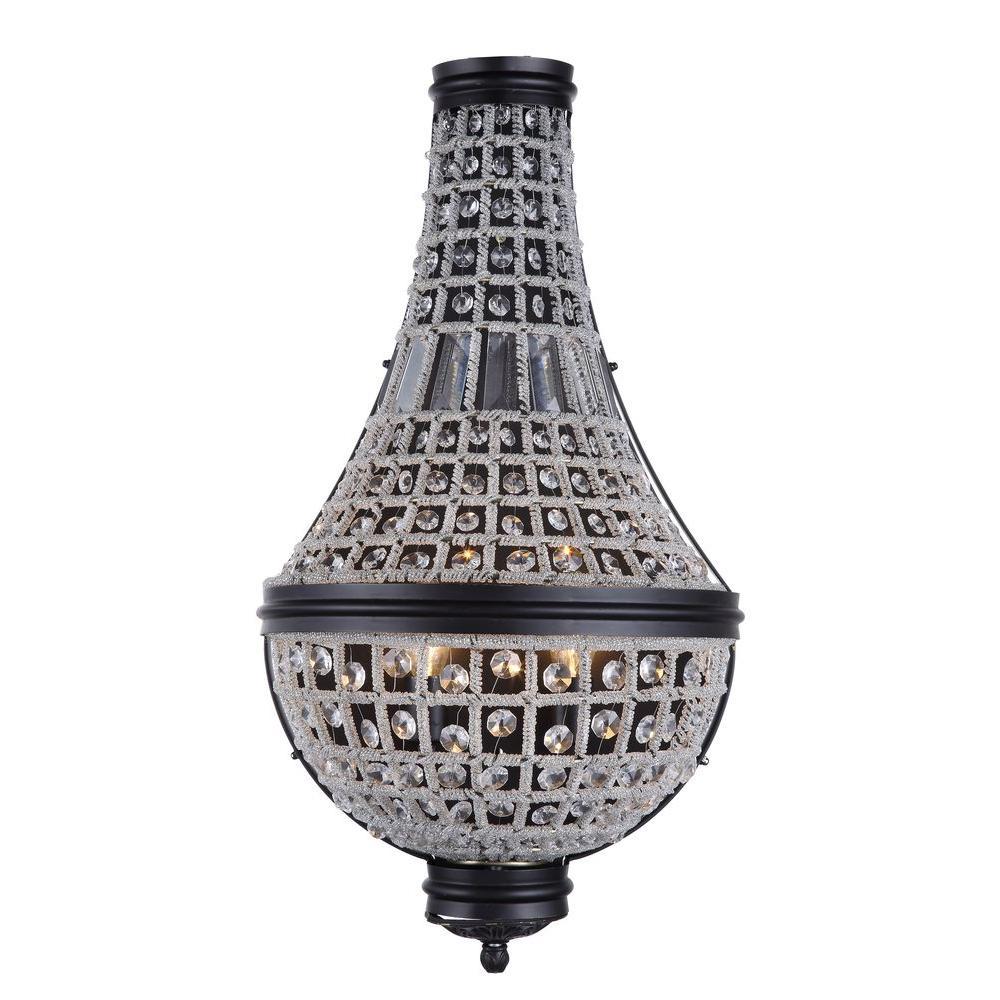 Elegant Lighting Stella 3-Light Dark Bronze Royal Cut Crystal Wall Sconce