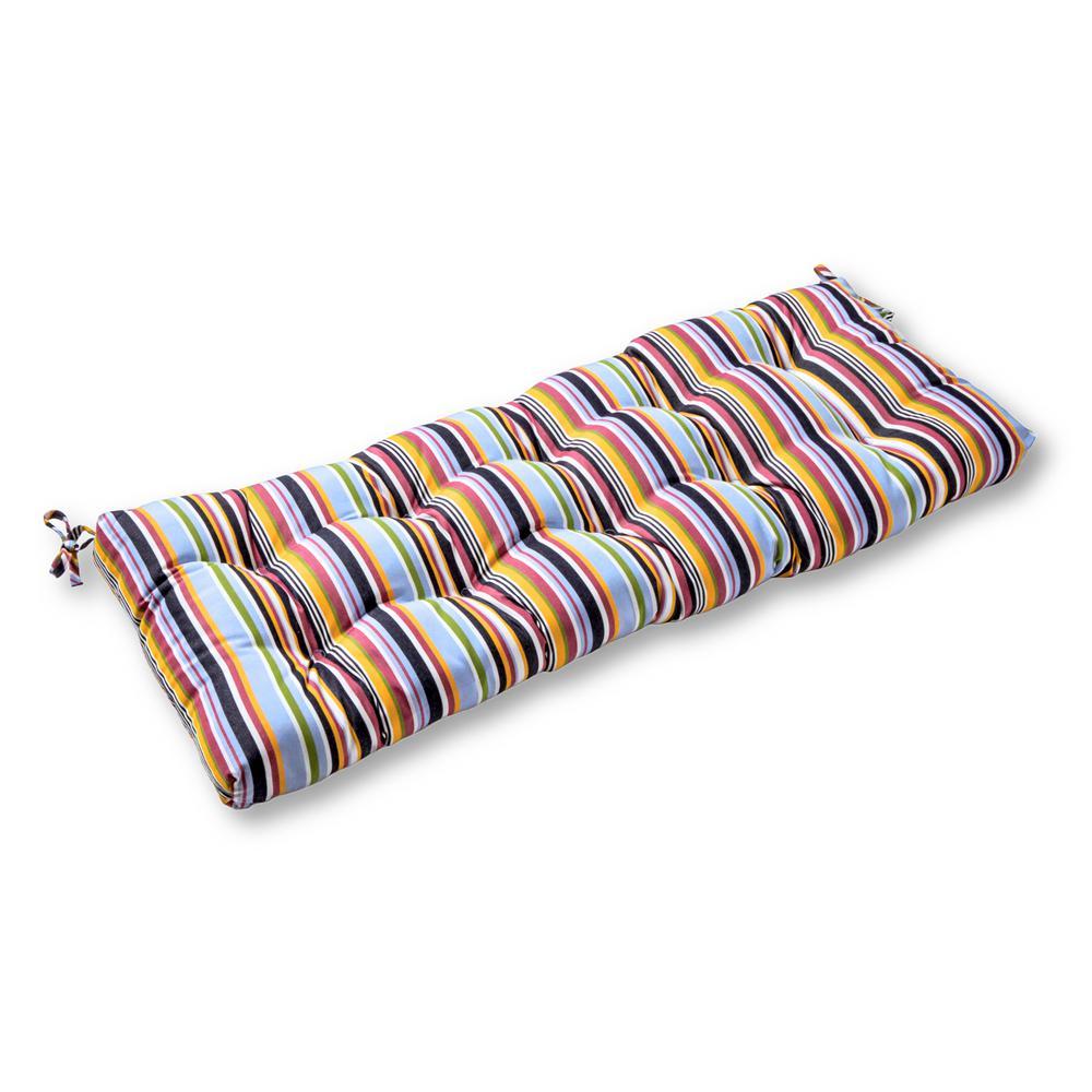 Malibu Stripe Sunbrella Rectangle Outdoor Swing/Bench Cushion