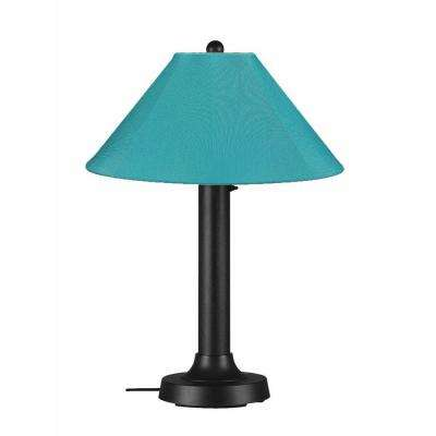 Catalina 34 in. Black Outdoor Table Lamp with Aruba Shade