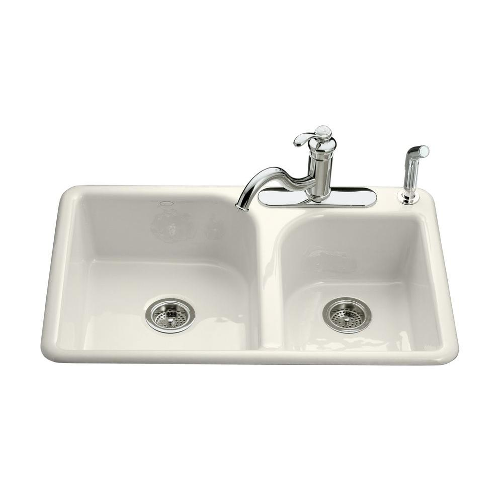 kohler efficiency drop in cast iron 33 in  4 hole double bowl kitchen sink in white k 5948 4 0   the home depot kohler efficiency drop in cast iron 33 in  4 hole double bowl      rh   homedepot com