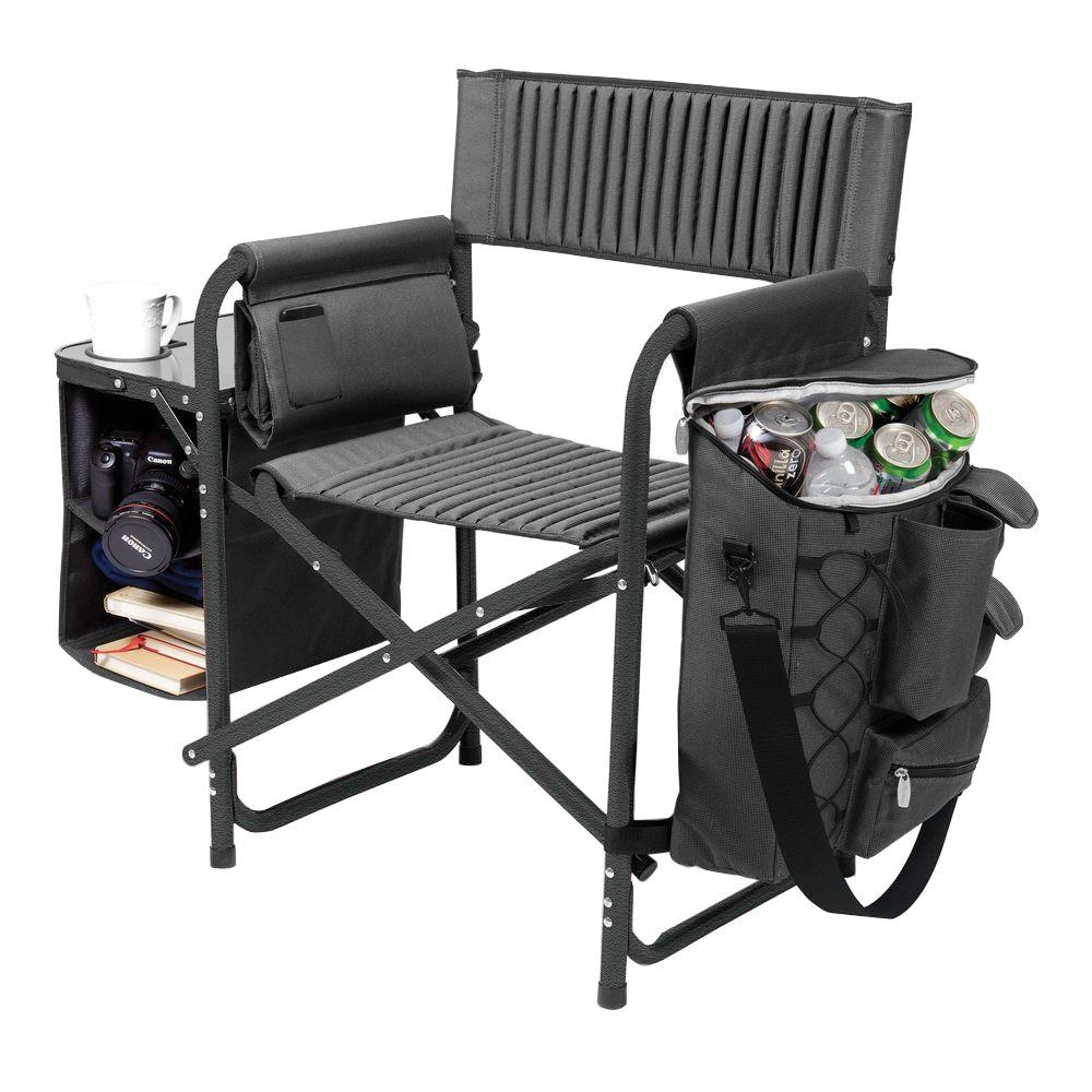 Dark Grey with Black Fusion Portable Outdoor Patio Chair