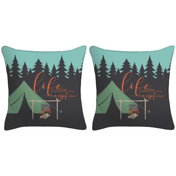 18 in. Life is Better Around the Camp Fire Toss Pillows (Set of 2)