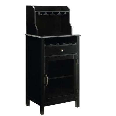 Hudson 5-Bottle Black Small Bar Cabinet