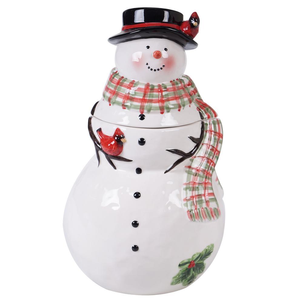 Watercolor Snowman Multi-Colored 11 in. 3-D Cookie Jar