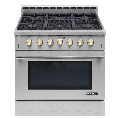 Entree 36 in. 5.5 cu. ft. Professional Style Dual Fuel Range with Convection Oven in Stainless Steel and Gold