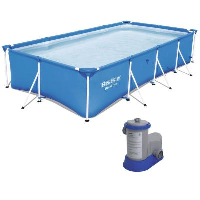 157 in. x 83 in. x 32 in. D Rectangular Metal Frame Pool Above Ground Pool and Flowclear Filter Pump