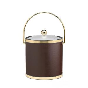 Kraftware Sophisticates 3 Qt. Brown and Polished Brass Ice Bucket with Bale Handle and Acrylic Cover by Kraftware