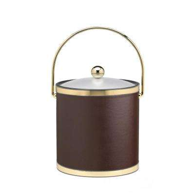 Sophisticates 3 Qt. Brown and Polished Brass Ice Bucket with Bale Handle and Acrylic Cover