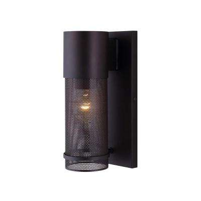 Alfie 1-Light Oil Rubbed Bronze Outdoor Wall Light with Mesh Cage and Clear Glass