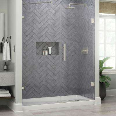 Ametrine 60 in. x 76 in. Heavy Hinge Frameless Shower Door in Brushed Nickel with 5/16 in. (8 mm) Clear Glass