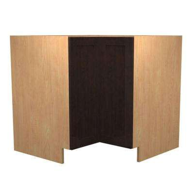 Elice Ready to Assemble 36 x 34.5 x 24 in. Easy Reach Base Corner Cabinet with 2 Doors in Mocha