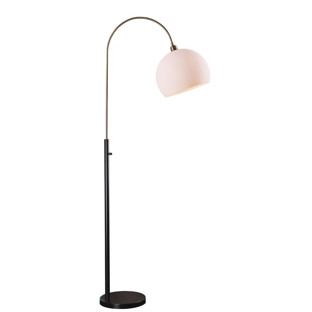 Bronze Indoor Arc Floor Lamp With White Shade