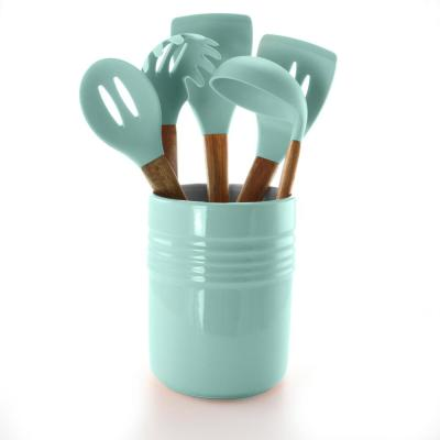 Plaza Cafe 5-Piece Kitchen Tools with Sky Blue Ceramic Crock
