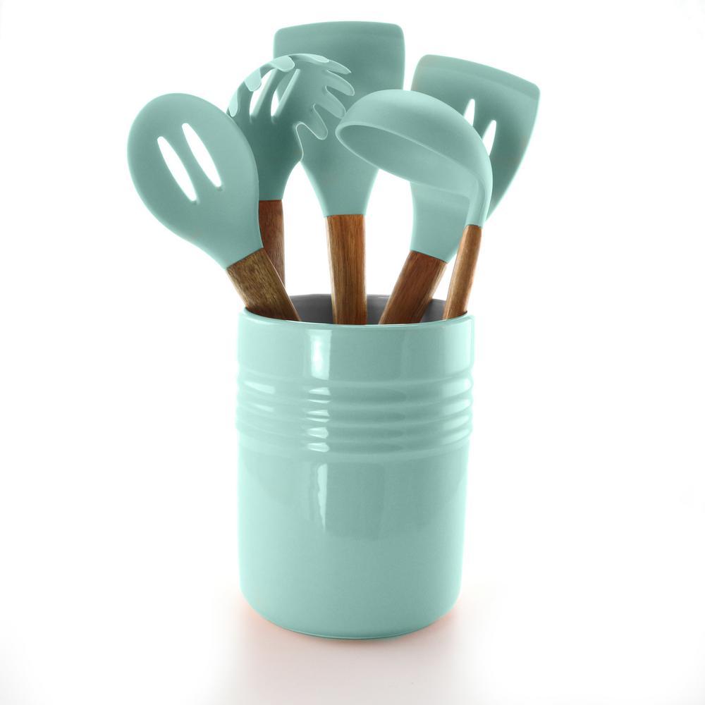 Plaza Cafe 5-Piece Kitchen Tools with Sky Blue Ceramic Crock