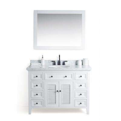 48 in. W x 22 in. D Vanity in White with Cararra Marble Vanity Top in White and Gray with White Basin and Mirror