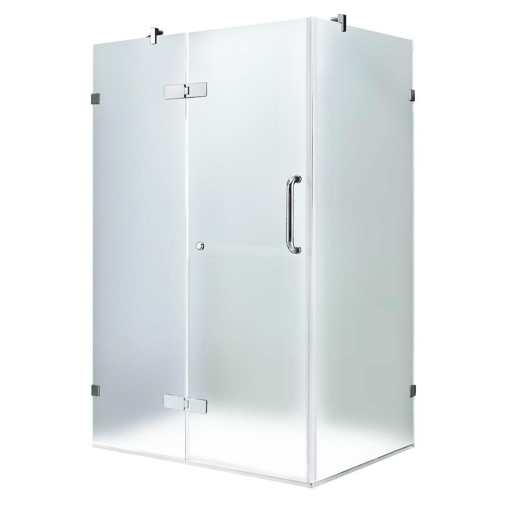 Vigo 30-1/4 in. x 38-1/4 in. x 73-3/8 in. Frameless Pivot Shower Enclosure in Chrome with Frosted Glass and Left Door
