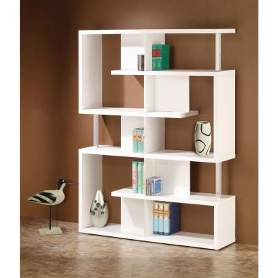63.25 in. White Wood 7-shelf Etagere Bookcase with Open Back