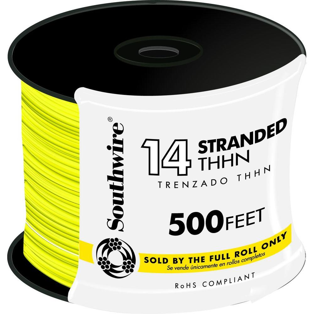 500 ft. 14 Yellow Stranded CU THHN Wire