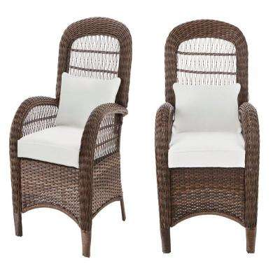 Beacon Park Brown Wicker Outdoor Patio Captain Dining Chair with Bare Cushions (2-Pack)