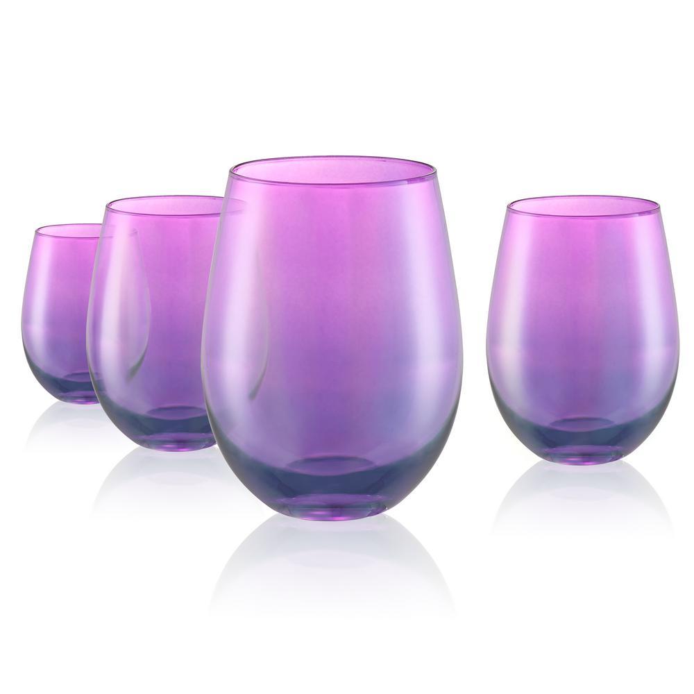 16 oz. Stemless Wine Glasses in Purple (Set of 4)