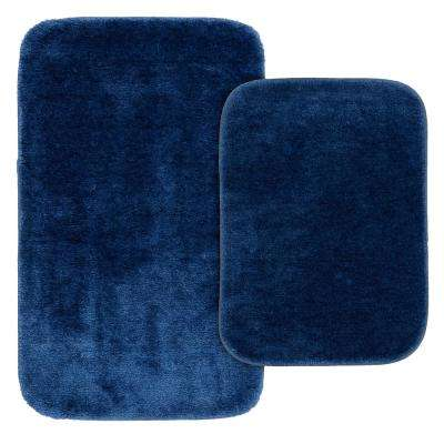 Traditional 2 Piece Washable Bathroom Rug Set in Navy
