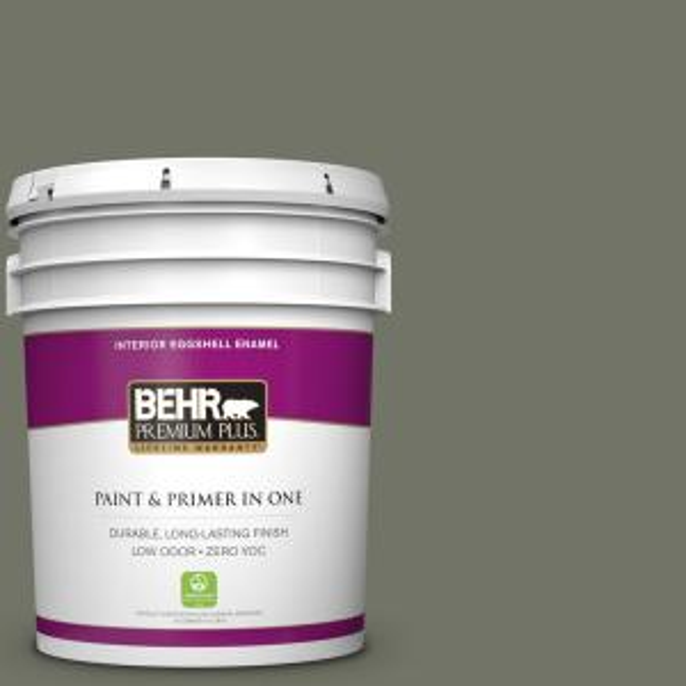 BEHR Premium Plus 5 gal. #BXC-44 Pepper Mill Zero VOC Eggshell Enamel Interior Paint by