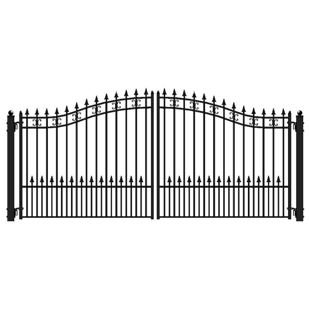ALEKO St. Petersburg Style 16 ft. x 6 ft. Black Steel Dual Driveway Fence Gate