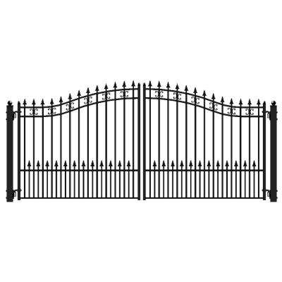 St. Petersburg Style 16 ft. x 6 ft. Black Steel Dual Driveway Fence Gate