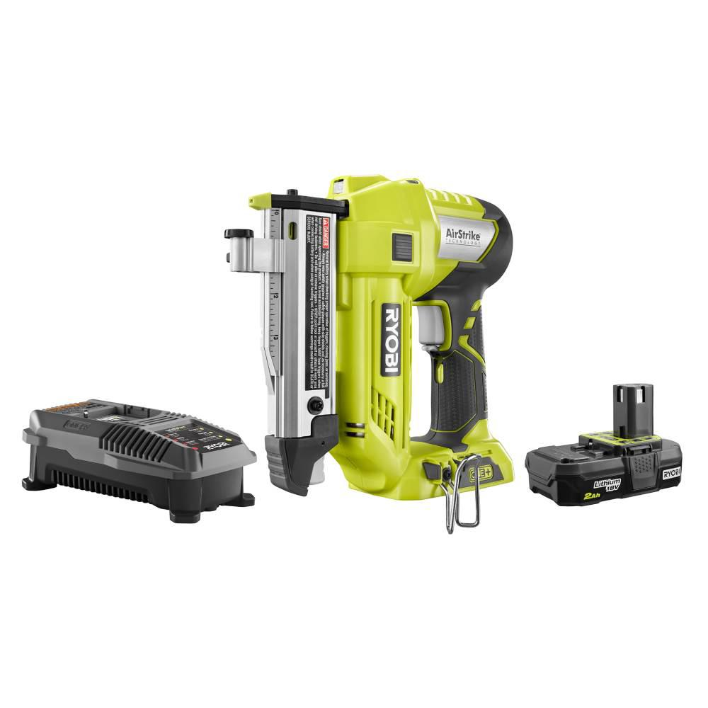 RYOBI 18-Volt ONE+ 23-Gauge Cordless AirStrike Headless Pin Nailer Kit with 2.0 Ah Battery and Charger
