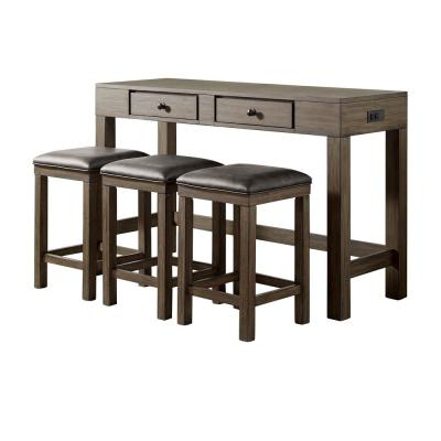 Cohasset 4-Piece Light Walnut and Gray Counter Height Dining Table Set