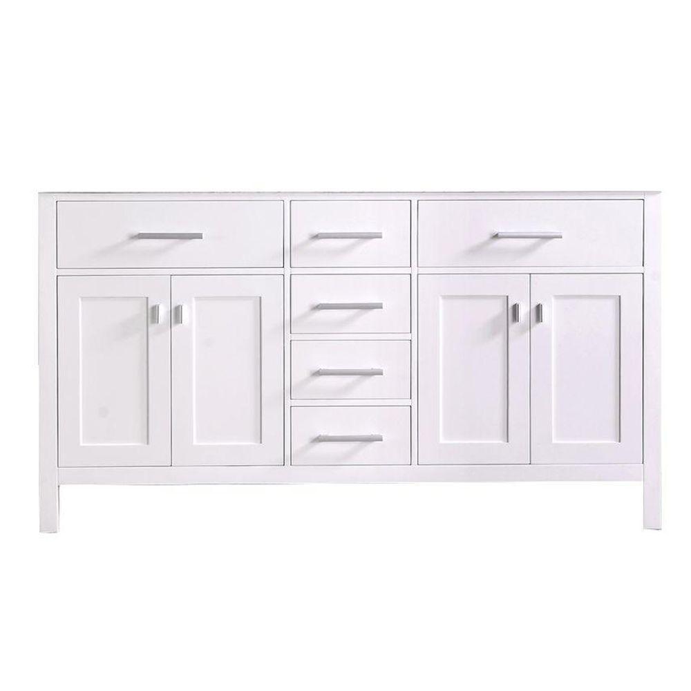 London 60.5 in. W x 21.5 in. D Vanity Cabinet Only in White