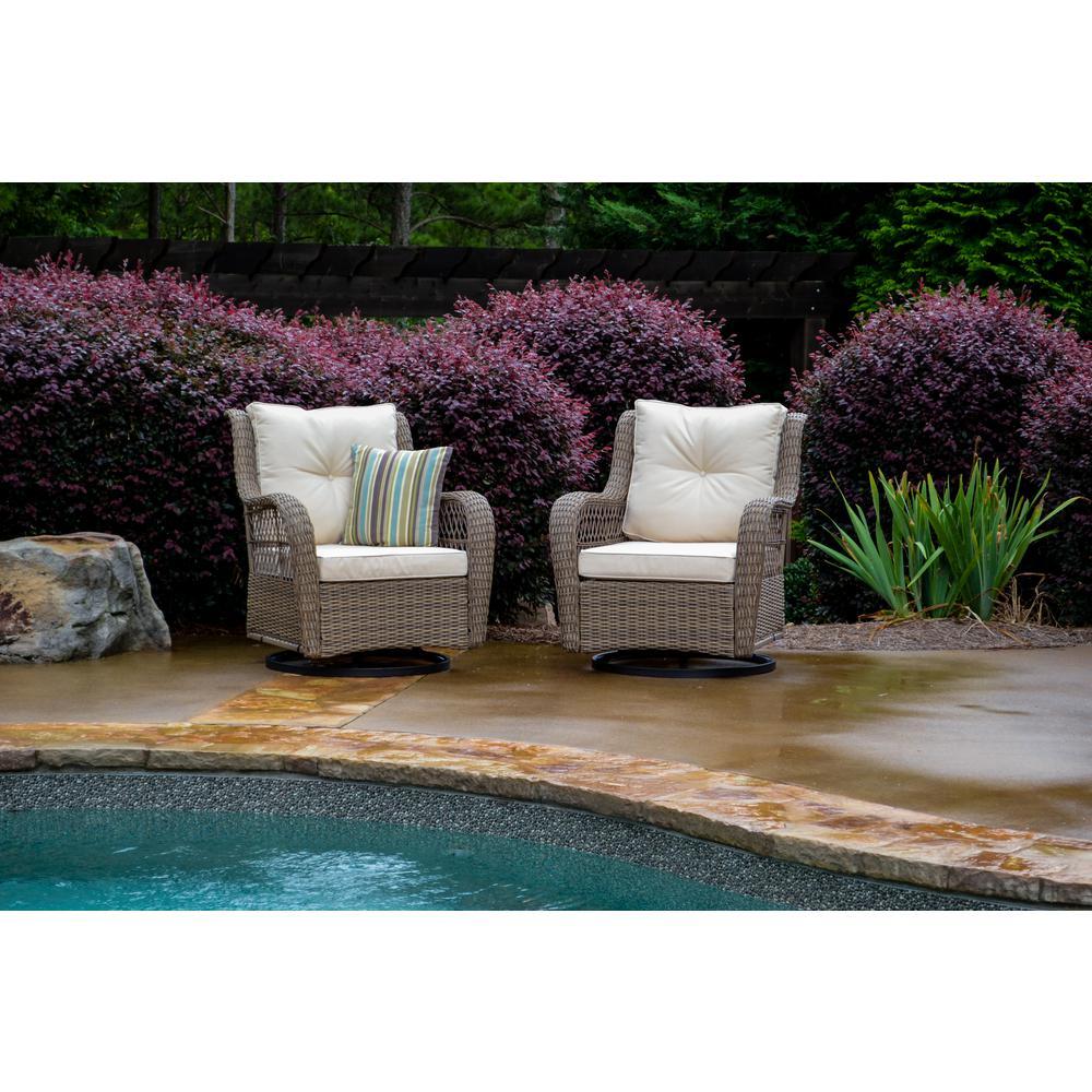 Rio Vista Wicker Outdoor Swivel Glider Chair with Beige Cushion (2-Pack)