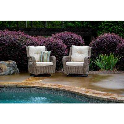 Rio Vista Wicker Outdoor Swivel Glider Chair with Beige Cushion (2-Pack)