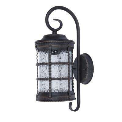 1-Light Rust Outdoor Wall Lantern Sconce with Hammer Glass