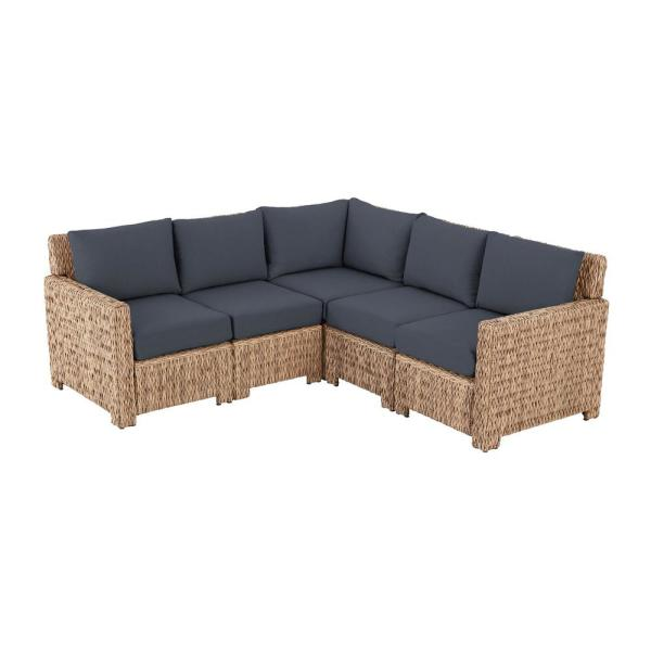 Laguna Point 5-Piece Natural Tan Wicker Outdoor Patio Sectional Sofa with CushionGuard Sky Blue Cushions
